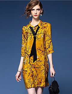 Women's Going out Sophisticated Shift Dress,Print Shirt Collar Above Knee ¾ Sleeve Silk Polyester Yellow Spring Mid Rise Micro-elastic