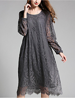 Women's Plus Size Going out Holiday Sexy Vintage Simple Loose Lace Dress,Jacquard Embroidered Lace Cut Out Round Neck Knee-lengthLong