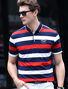 פסים צווארון חולצה פשוטה יום יומי\קז'ואל חוף מידות גדולות Polo גברים,קיץ שרוולים קצרים אדום לבן ירוק צהוב בינוני (מדיום) כותנה ספנדקס