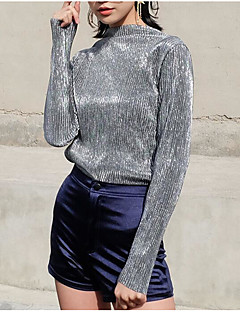 Women's Casual/Daily Sexy Street chic Regular Pullover,Solid Green Gold Silver Crew Neck Long Sleeve Polyester Spring Winter Medium