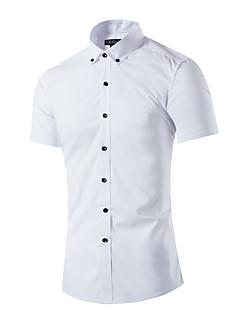 男性 カジュアル/普段着 夏 シャツ,シンプル シャツカラー ソリッド ホワイト コットン 半袖 ミディアム