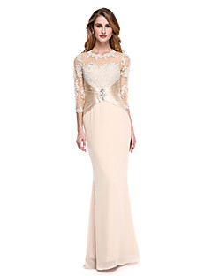 2017 Lanting Bride® Trumpet / Mermaid Mother of the Bride Dress - See Through Floor-length 3/4 Length Sleeve Chiffon / Stretch Satin