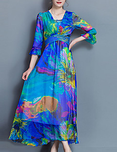 Women's Plus Size Going out Sophisticated Sheath Swing Dress,Print Ruched V Neck Midi ¾ Sleeve Polyester Blue Pink Green Purple Summer