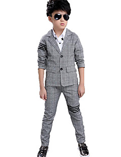 Boy Casual/Daily Formal Party/Cocktail Plaid Sets,Cotton Spring Fall Long Sleeve Clothing Set