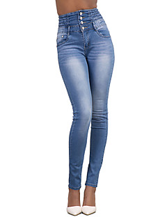 Women's High Rise Micro-elastic Jeans Pants,Simple Street chic Skinny Solid