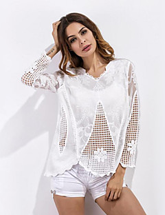 Feminino Camiseta Casual Moda de Rua Verão,Jacquard Branco Poliéster Decote Redondo Meia Manga Leve Transparência