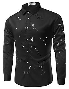 男性 カジュアル/普段着 シャツ,シンプル シャツカラー プリント ブルー ホワイト ブラック コットン 長袖