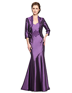 LAN TING BRIDE A-line Mother of the Bride Dress - Two Pieces Floor-length Sleeveless Lace Stretch Satin with Appliques Beading Pleats
