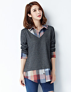 Women's Plus Size Simple Spring Fall Shirt,Plaid Patchwork Shirt Collar Long Sleeve Polyester Spandex Thin