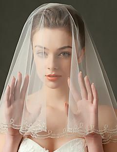 Véus de Noiva Uma Camada Véu Cotovelo Véu Ponta dos Dedos Borda Enfeitada Tule