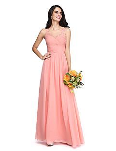 2017 Lanting bride® poda šifon / čipka otvoriti natrag / elegantan djeveruša haljina - a-linije v-izrez