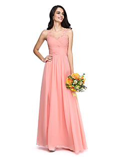 2017 lanting bride® vloer lengte chiffon / kanten open rug / elegante bruidsmeisje jurk - a-lijn v-hals