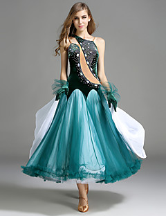 Dança de Salão Vestidos Mulheres Actuação Tule Veludo Cristal/Strass Amarrotado 2 Peças Sem Mangas Natural Luvas Vestidos
