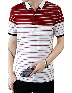 Men's Plus Size Casual/Daily Beach Simple Street chic Active Summer Polo,Solid Shirt Collar Short Sleeve Blue Red White Cotton Medium