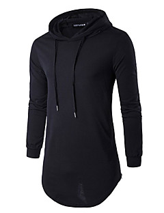 Men's Casual/Daily Hoodie Solid Round Neck Micro-elastic Cotton Long Sleeve Spring Fall