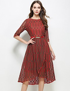 Women's Going out Casual/Daily Vintage Simple Sheath Dress,Patchwork Round Neck Knee-length ½ Length Sleeve Polyester Red Spring Summer