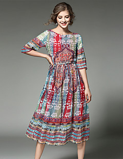 Maxlindy Women's Going out / Party/Cocktail / Holiday Vintage / Street chic /Midi Chiffon Dress