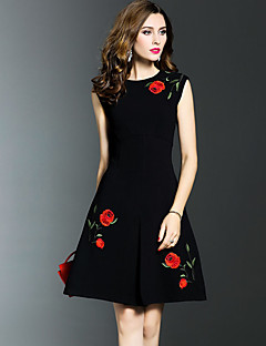 Women's Plus Size Going out Sophisticated A Line Dress,Embroidered Ruched Round Neck Knee-length Sleeveless Cotton Nylon Black SummerMid