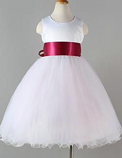 Princess Tea-length Flower Girl Dress - Tulle Polyester Sleeveless Jewel with Sash / Ribbon