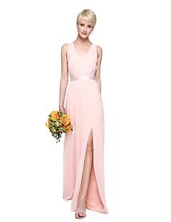 LAN TING BRIDE 바닥 길이 V-넥 신부 들러리 드레스 - 우아한 민소매 쉬폰