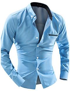 Langærmet Krave Herre Blå Hvid Prikker Simpel Afslappet/Hverdag Skjorte,Bomuld