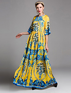 Damen Lose Kleid-Ausgehen Niedlich Druck Rundhalsausschnitt Maxi ½ Länge Ärmel Gelb Polyester Frühling Sommer Mittlere Hüfthöhe