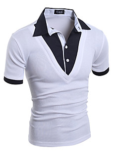Men's Sports Casual/Daily Club Simple Street chic Punk & Gothic All Seasons T-shirt,Solid Shirt Collar Short Sleeve Cotton Spandex