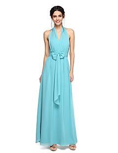 גזרת A קולר עד הריצפה שיפון שמלה לשושבינה  עם פפיון(ים) סלסולים על ידי LAN TING BRIDE®