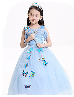 Cosplay Costumes Party Costume Princess Kids Cinderella Fairytale Festival/Holiday Halloween Costumes Blue Patchwork Lace DressHalloween