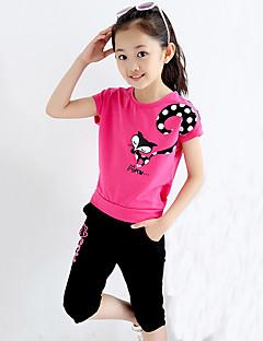 Mädchen Sets Ausgehen Lässig/Alltäglich Sport Druck Baumwolle Sommer Kurzarm Kleidungs Set