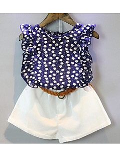 Girl Casual/Daily Polka Dot Print Sets,Cotton Summer Short Sleeve Clothing Set