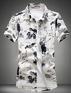 Casual/Daily Simple Summer Shirt,Print Round Neck Short Sleeve White Cotton