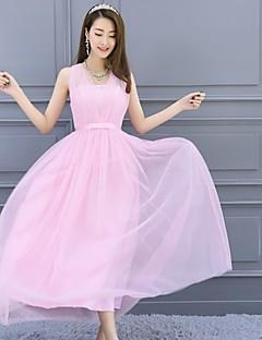 Até o Tornozelo Decote V Vestido de Madrinha - Elegante Costas Lindas Sem Mangas Cetim Tule