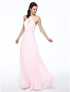 LAN TING BRIDE עד הריצפה קולר שמלה לשושבינה - אלגנטי ללא שרוולים שיפון