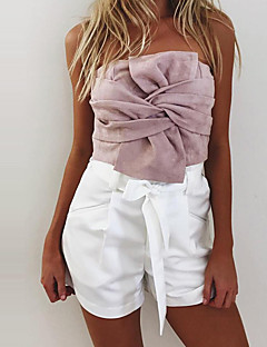 Women's Going out Casual/Daily Sexy Suede Bow Backless Bare Midriff Street chic Spring Fall T-shirtSolid Strapless Sleeveless Medium