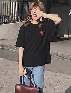 tegn korea tidlige forår nye retro broderede roser solidt fundament sikkerhedskopiering løs kortærmet T-shirt