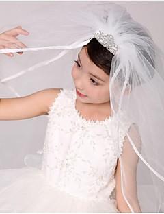 Véus de Noiva Duas Camadas Véus de Primeira Comunhão Borda com Tira Tule