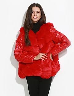 Women's Plus Size Simple Fur CoatSolid Round Neck Long Sleeve Winter Red / White / Black / Brown /