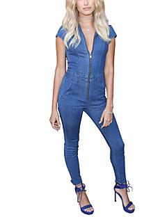 Skinny Overall-Lässig/Alltäglich Ausgehen Street Schick Einfach Solide Jeansstoff Hemdkragen Kurzarm Mittlere Hüfthöhe Polyester
