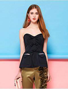 Kadın Pamuklu Polyester Splandeks Kolsuz Straplez Bahar Yaz Solid Seksi Dışarı Çıkma Parti/Kokteyl Mavi Sarı-Kadın Gömlek