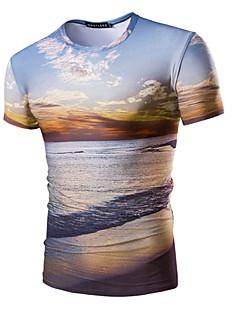 프린트 라운드 넥 짧은 소매 티셔츠,심플 액티브 데이트 신사화 블루 면 여름 중간