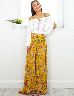 Swing Print Split Skirts,Casual/Daily Beach Holiday Boho High Rise Maxi Drawstring Cotton Inelastic Spring Summer