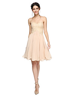 A-Line Sweetheart Knee Length Chiffon Lace Bridesmaid Dress with Beading Pleats by LAN TING BRIDE®