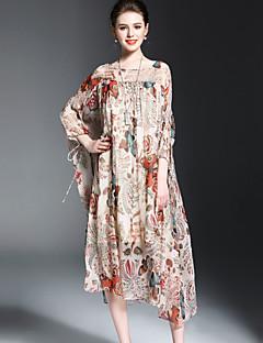 Damer Vintage I-byen-tøj Swing Kjole Dyretryk,Bateau-hals Midi Silke Forår Sommer Alm. taljede Mikroelastisk Medium