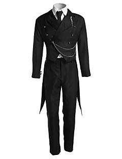 Inspireret af Sort Butler Sebastian Michaelis Anime Cosplay Kostumer Cosplay Suits Ensfarvet Sort Langt ÆrmeSmoking / Vest / Bukser /