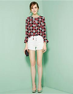 Feminino Camisa Social Para Noite Casual Fofo Primavera Verão,Floral Seda Decote Redondo Manga Longa