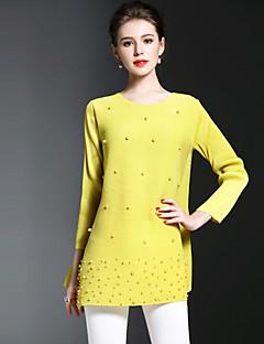 Langærmet Rund hals Damer Ensfarvet Forår Sommer Simpel I-byen-tøj Afslappet/Hverdag T-shirt,Polyester