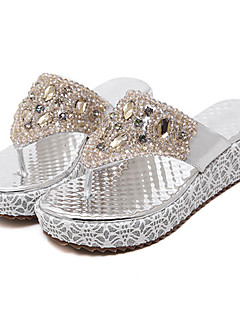 Women's Sandals PU Spring Summer Fall Casual Dress Rhinestone Wedge Heel Gold Sliver 2in-2 3/4in