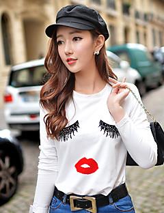 Dames Eenvoudig Street chic Actief Lente Herfst T-shirt,Uitgaan Casual/Dagelijks Vakantie Print Kleurenblok Ronde hals Lange mouwKatoen