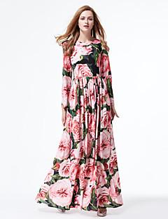 Kadın Dışarı Çıkma Sevimli Çan Elbise Çiçekli,Uzun Kollu Yuvarlak Yaka Maksi Pembe Polyester Bahar Yaz Normal Bel Mikro-Esnek Orta